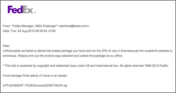 Example of the fraudulent email