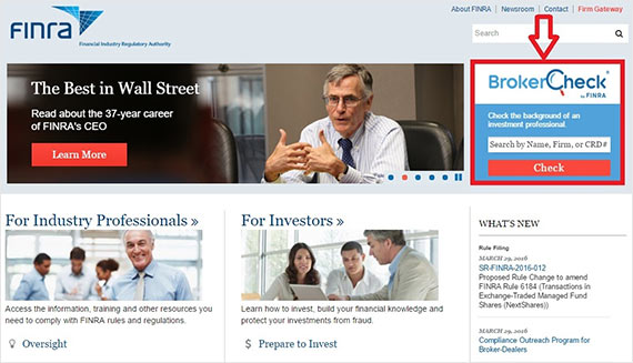finra.org home page
