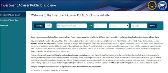 Screenshot of http://adviserinfo.sec.gov