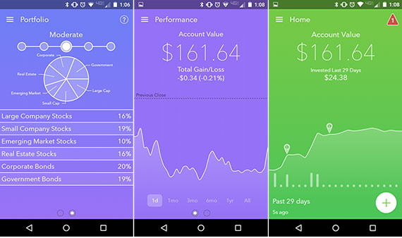 Screenshots of the Acorns app