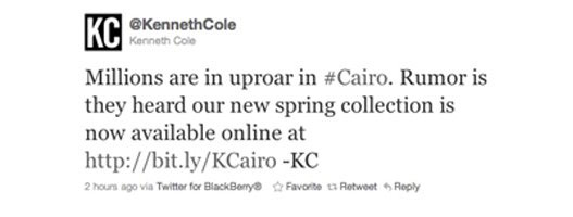 Kenneth Cole's Twitter post