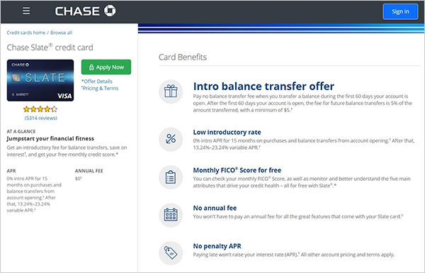 Screenshot of Chase Slate Card offer