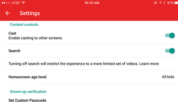 Accessing YouTube Kids' Settings