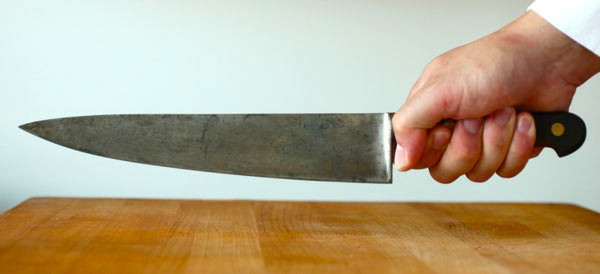 How to hold a knife when cutting hard foods or bone