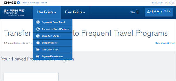 Screenshot of Chase Ultimate Rewards Portal
