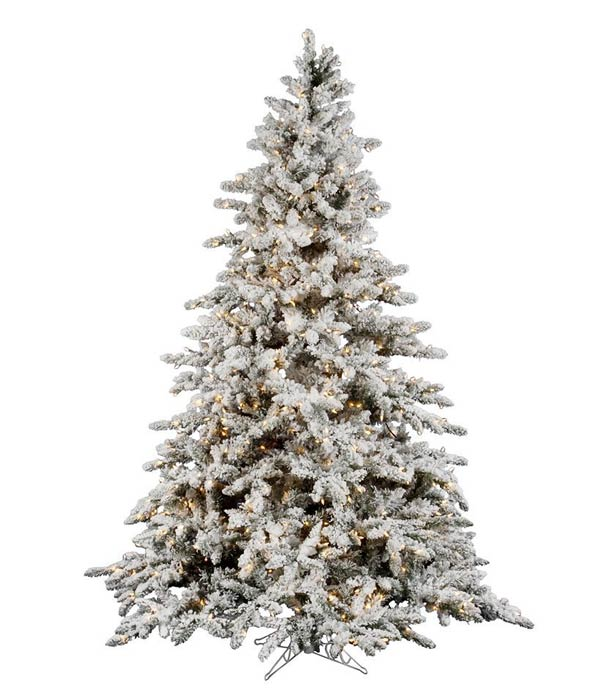 best flocked and pre lit vickerman artificial christmas trees - Mountain King Christmas Trees