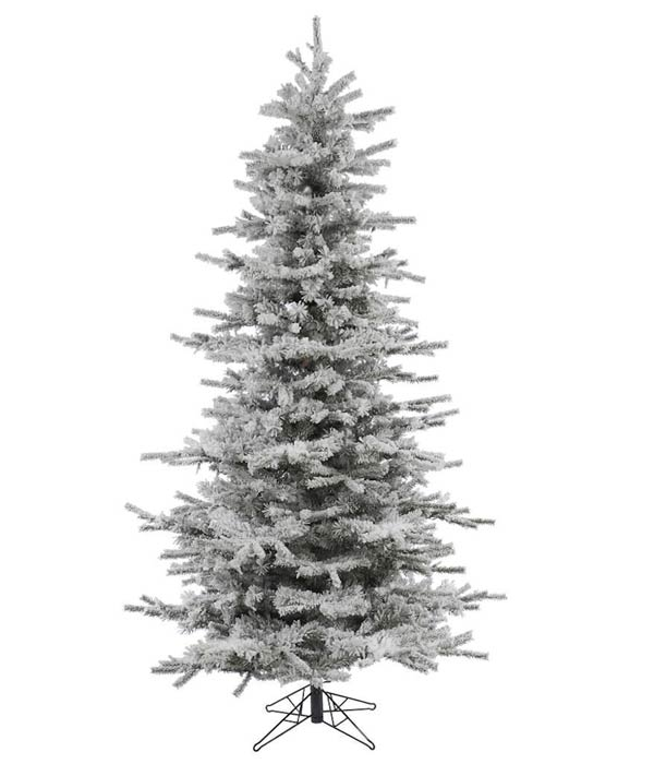 Vickerman Flocked Slim Sierra Flocked White on Green Christmas Tree