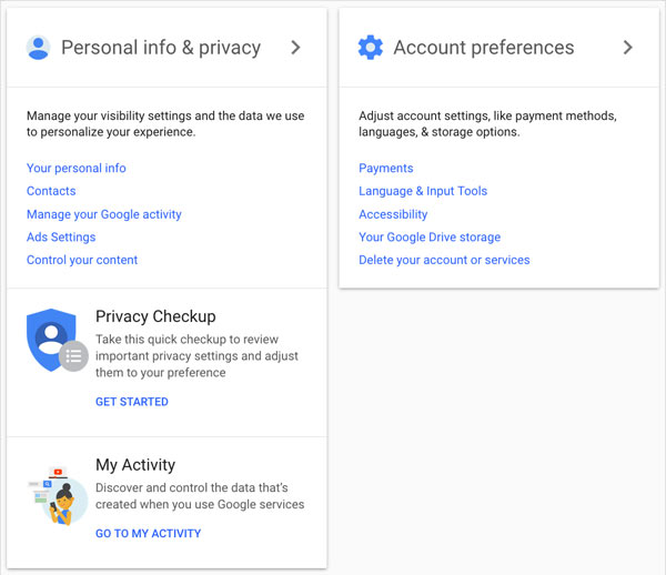 Google Account Homepage