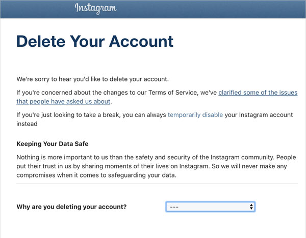 Instagram's Delete Your Account page