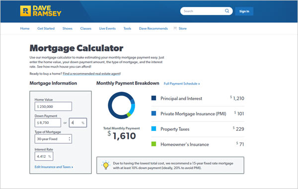 dave ramsey mortgage calculator