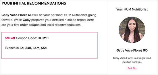 Hum Nutrition Recommendation Screen