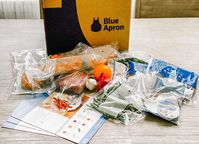Contents of the Blue Apron box