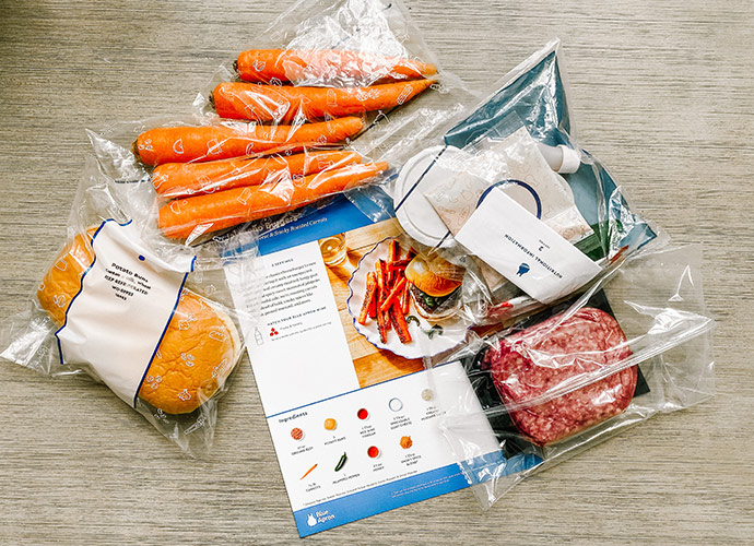 Jalapeno Burgers with Goat Cheese and Smoky Roasted Carrots from Blue Apron