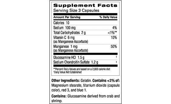 Cosamin DS's ingredients label.