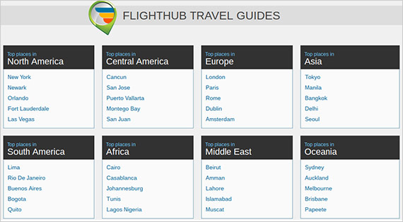 Screenshot of Flighthub Travel Guides