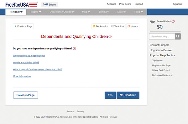 Screenshot of FreeTaxUSA software