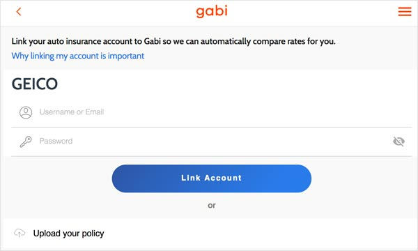 Gabi Link Accounts Screen