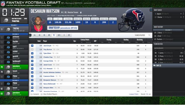 Screenshot of the NFL.com draft platform