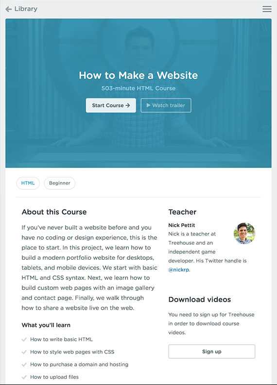 "Nick Pettit's ""How To Make a Website"" course."