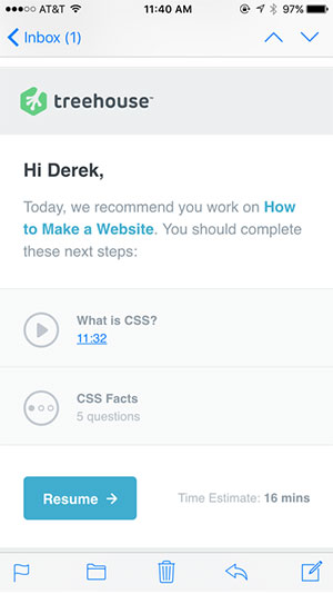 An example of one of several emails from Team Treehouse