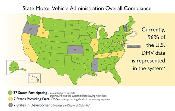 A map of State Motor Vehicle Administration Overall Compliance