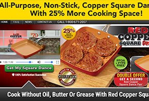 Red Copper Square Dance Pan