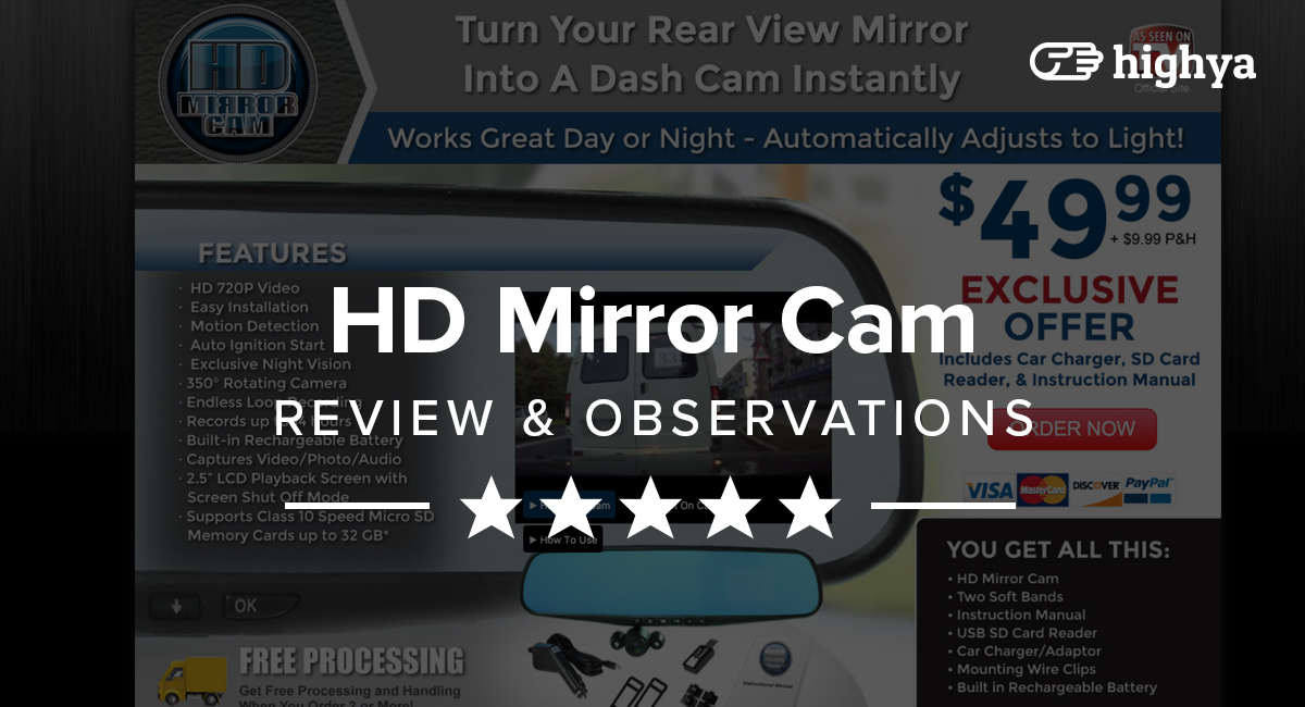Hd Mirror Cam on Car Dashboard Full