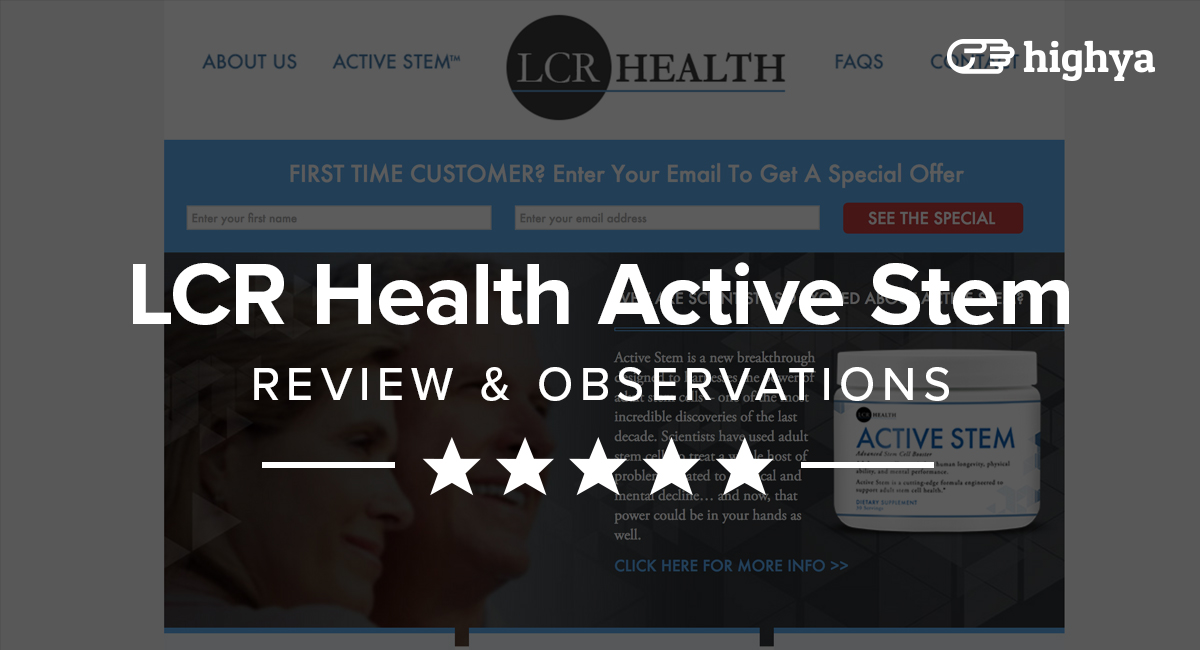 LCR Health Active Stem Reviews - Is it a Scam or Legit?
